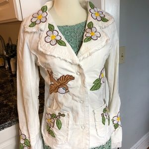 Hand embroidered Johnny Was corduroy & Eyelet coat